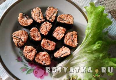 Сыроедческие суши из зеленой гречки