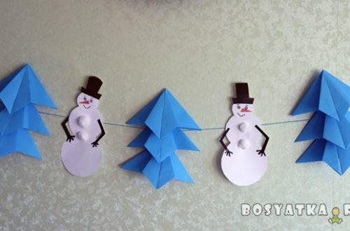 новогодняя гирлянда со снеговиками и елками своими руками